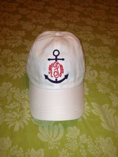 Nautical Anchor Monogram Baseball Hat Cap by Bouffants on Etsy