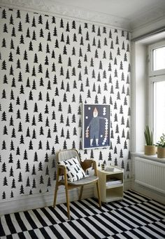 photo's fine little day Looking for inspiration for my youngest son's bedroom. Love this Fine little day gran wallpaper and pillow case. My Living Room, Living Spaces, Interior Exterior, Interior Design, Kitchen Interior, Tree Wallpaper, White Wallpaper, Amazing Wallpaper, Graphic Wallpaper