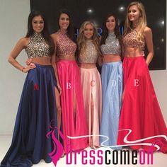 Elegant Floor Length Sweetheart Prom Dresses With Beadings, A line/2 Pieces Prom Dresses, Prom Dresses,Cheap Prom Dress