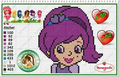 Strawberry Shortcake Cross Stitch Patterns | Strawberry Shortcake perler bead pattern by Carina Cassol