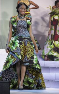 Vlisco evening gowns made with fabrics from the 'Delicate Shades' collection