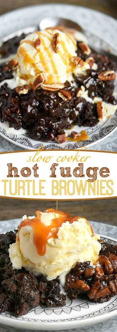 Fabulously gooey and outrageously delicious, these Slow Cooker Hot Fudge Turtle Brownies are going to rock your world! Hot fudge sauce, caramel, pecans, and gooey brownies come together for one irresistible dessert! // Mom On Timeout:
