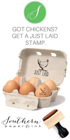 A JUST LAID Egg stamp is a great way to personalize your backyard chicken eggs from your own chicken coop. Homesteading? There's a mini size just for chicken eggs and larger customizable sizes for egg cartons and tags. Shop Now at Southern Paper & Ink Custom Stamps.