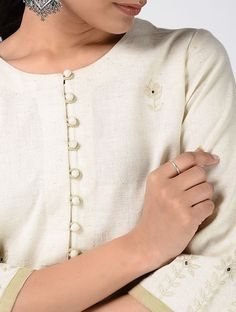 Ivory Hand-embroidered Cotton Kurta Kurtis, Mall, Ivory, Beige, Cotton, Ash Beige, Template
