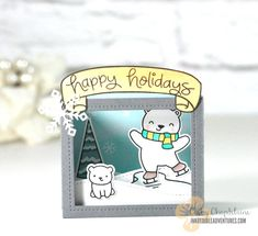 Lawn Fawn Shadow Box card die, Lawn Fawn Beary Happy Holidays stamp set