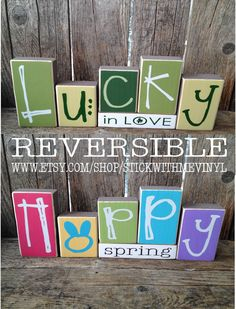 REVERSIBLE lucky in love/ hoppy spring holiday block wood set family home decor easter st patricks