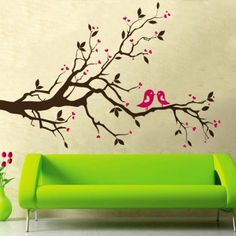 Modern Wall Decor Wall Art Removable Decor Art Mural Wall Sticker Vinyl Decal Paper Love Birds Bedroom ** You can get additional details at the image link. Contemporary Wall Stickers, Modern Wall Decor, Wall Stickers Murals, Wall Murals, Wall Decal, Tree Decals, Bird Bedroom, Bedroom Wall, Wall Sticker Design