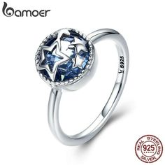 BAMOER Authentic 925 Sterling Silver Dazzling Star Blue Crystal CZ Finger Rings for Women Wedding Engagement Jewelry Gift Look Fashion, Fashion Rings, Engagement Jewelry, Wedding Engagement, Wedding Bands, Star Ring, Silver Pendant Necklace, Silver Jewelry, Silver Rings
