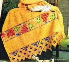 филейное вязание крючком кайма  на полотенце