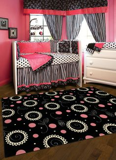 Shaw Kathy Ireland Home Young Attitudes Black/Pink Madison Girl 00102 Rug   Rugs HQ