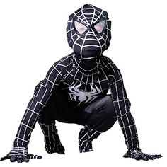 Boys Venom Black Spiderman Costume Kids Superhero Cosplay Spandex Bodysuit (Small) ** Check out this great image @…