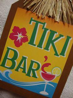 "HAWAIIAN DRINK "" TIKI BAR SIGN WOODEN PLAQUE DECORATION"
