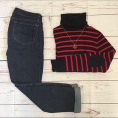 • J. Crew •• Sweater • J. Crew Merino Turtleneck Sweater in navy and red stripe, size small. Excellent condition.  A wardrobe must-have in supersmooth, lightweight merino wool and some of the most crush-worthy colors of the season (it's a piece you can justify getting in multiples). Classic stripes and solid elbow patches add a twist of Parisian polish. Merino wool in a 14-gauge knit. Long sleeves. Rib trim at neck, cuffs and hem. Hits at hip. Hand wash. J. Crew Sweaters Cowl & Turtlenecks