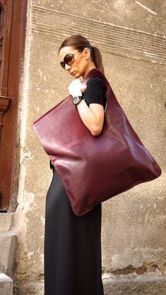 NEW Genuine Leather Burgundy Bag / High Quality Tote by Aakasha