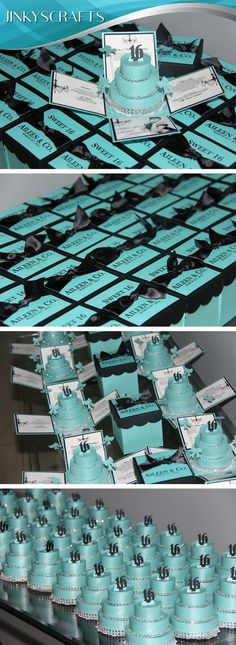 Authentic Sweet 16 Custom Invitations. Tiffany Themed Exploding Box with 3-Tier Cake Invitations. Very unique, YOU CAN get the DIY KIT starting at $2-$4. Please TAG # a friend having Quinceanera or Sweet 16.