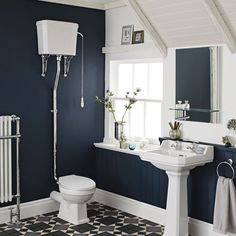 Carlton High Level Bathroom Suite - High Level Toilet inc Basin & Full Pedestal at Victorian Plumbing UK Victorian Toilet, Victorian Bathroom, Victorian House, Traditional Toilets, Traditional Bathroom, Room Furniture Design, Bathroom Furniture, Bathroom Ideas, Cloakroom Toilet Downstairs Loo