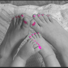 Happy Pink Toes! Someday when I have a daughter I am going to paint her toes and nails when she is a baby! Then I want to take a picture like this with her feet and mine!! So cute!!!