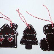 Christmas Gift Tags,Gingerbread Style Gift Tags 3pk,Handmade Tags - £1.80