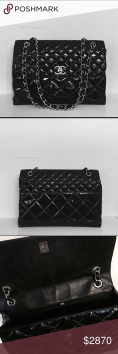 """Chanel """"in business"""" patent leather jumbo flip bag Chanel """"In Business"""" Patent Leather Flip Bag. Sliver chain/ Jumbo size/ CC Turnlock/ 12.5 inches x 3.5 inches x 8.25 inches!   Pre-owned, Great condition  No major exterior marks, only interior scratches Interior: one open pocket, one zip pocket  Exterior: one pocket in the back  Material: patent leather A video on the bag (not mine) :  http://youtu.be/5lGLTx3IqTQ.  CONTACT ME FOR MORE PICTURES ! CHANEL Bags Shoulder Bags"""