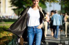 Sarah Harris in denim & leather
