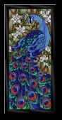 Stained Glass Pattern Peacock & Lotus