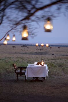Dinner for two in Kenya, I'd be so scared I would not be able to eat!