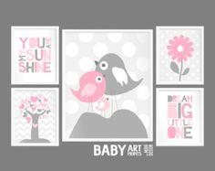 Roze Mint grijs Girl kinderkamer kunst wordt door babyartprints