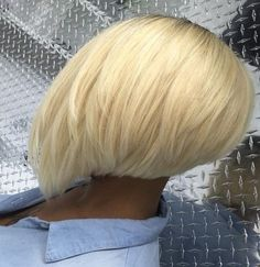 The Full Stack: 50 Hottest Stacked Haircuts African American Platinum Blonde Bob Short Stacked Haircuts, Short Hair Cuts, Short Pixie, Bobs Rubios, Kids Bob Haircut, Platinum Blonde Bobs, Curly Hair Styles, Natural Hair Styles, Bleaching Your Hair