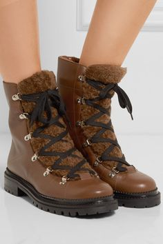 Jimmy Choo - Shearling-trimmed Leather Ankle Boots - Brown - IT37.5