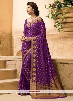 Especial Dark Purple Crepe Silk Designer Saree
