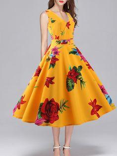 V Neck Floral Printed Skater Dress  SkaterDresses Vestidos De Otoño c9ab56963488