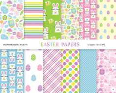 Easter digital papers with bunnies and eggs  by ValerianeDigital, $2.50
