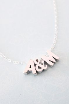 Personalised Silver Letter Necklace - Silver Initial Sterling Silver Chain, monogram, friendship, ampersand couples initial necklace, www.glitzandlove.com