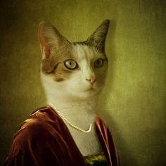 Les illustrations Kitsch de Martine Roch. Vintage anthropomorphic cat.