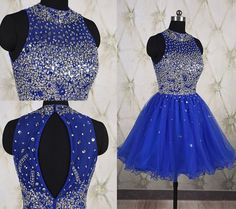 Ball Gown High Neck Open Back Short Royal Blue Tulle Beaded Prom Dress