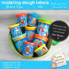 Robots Party Favors Dough Wrappers, printable labels that fit Play doh® cans, non-candy treats, kids birthday party, boys robot labels Party Card Games, Party Prizes, Party Favors, Baby Boy Birthday, Boy Birthday Parties, 4th Birthday, Birthday Ideas, Modeling Dough, Classroom Treats