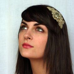 Gold Metallic Embroidered Beaded Headband for by JillsBoutique, $30.00