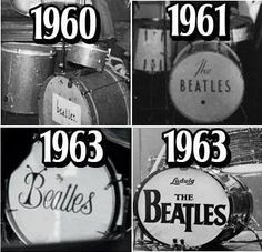 "The Beatles drum logo through the years. 60 is from a kit belonging to Paul, 61 is Pete Best's Premier kit, the bottom 2 are Ringo's Premier Duro-plastic kit with ""Bug"" logo and of course the best known Ludwig kit(s) there were 2 smaller sized kits (14x20 bass, 8x10 & 14x14 toms) and 2 larger sized kits ( 14x22 bass, 9x11 & 16x16 toms)"