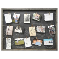 Playfully display cherished memories with Sugarboo Designs memory board, a framed chalkboard made from vintage recycled wood with 3 hang wires and 25 antiqued clothespins.
