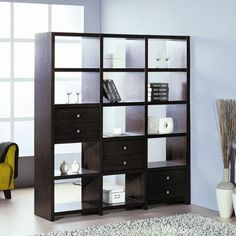 Hokku Designs Bisect Room Divider with Six Adjustable Storage Drawers in Wenge