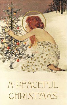 Christmas Art Nouveau angel with halo and tree