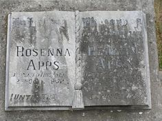 Detail of worn bible shape headstone dating from about 1938 in Yarra Cemetery near Goulburn, New South Wales. Inscription is for Rosenna Apps (d. 1962) and her husband Reuben Apps (d. 1938). Photo taken November 2006 by Brenden Ashton.     Start a mobile app business
