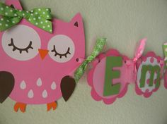 Owl Birthday Party Name and Age Banner - Pink and Green