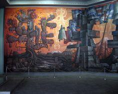 """Parte del mural """"Presencia de América Latina"""", ubicado en la Casa del Arte, Universidad de Concepción, Chile - Jorge González Camarena"""