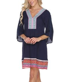 Another great find on #zulily! White Mark Navy Embroidered Shift Dress by White Mark #zulilyfinds
