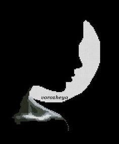 0 point de croix visage au clair de lune - cross stitch face in the moonlight