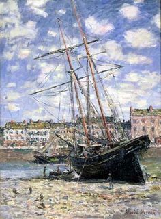 1881 - Claude Monet - Boat lying at low tide (Fuji Art Museum) (80 x 60 cm)