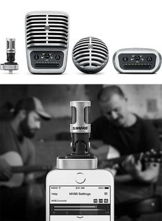 Shure MOTIV Digital Microphones.  The pros choose Shure microphones for both live shows and studio recordings & now Shure has created a line of portable digital mics made for mobile recording. The versatile MV88 model plugs directly into iOS devices, the MV51 is a large diaphragm condenser mic, & the MV5 is designed for music, podcasting and video chats.