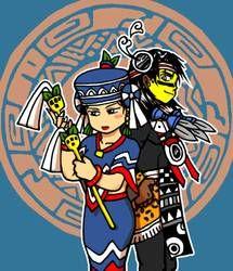 Tezcatlipoca and Huixtocihuatl by nosuku-k on DeviantArt Aztec Emperor, Tsundere, Aztec Warrior, I Really Love You, Drawing Tools, Drawing Ideas, Character Description, First Nations, Funny Art