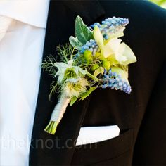 groom's diy boutonniere blue grey ideas | Blue and White Boutonniere